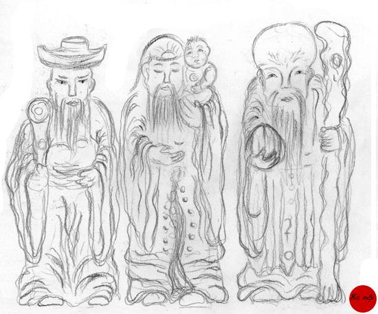 les-trois-sages-art-asie-religion-Fuk-Luk-Sau-dieux-du-bonheur-religion-creation-vietnam