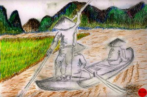 paysage-vietnam-rizières-montagne-pecheur-dessin-images