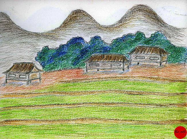 campagne-paysage-maisons-pilotis Vietnam Asie rizières