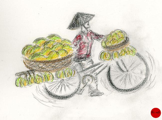 femme velo fruits ville Vietnam
