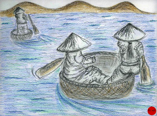 femmes fleuve bateaux ronds campagne Vietnam